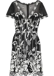 Marchesa Notte Woman Floral-appliquéd Guipure Lace Dress Black