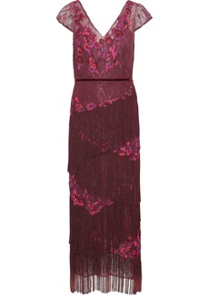 Marchesa Notte Woman Fringed Embellished Chantilly Lace Midi Dress Plum