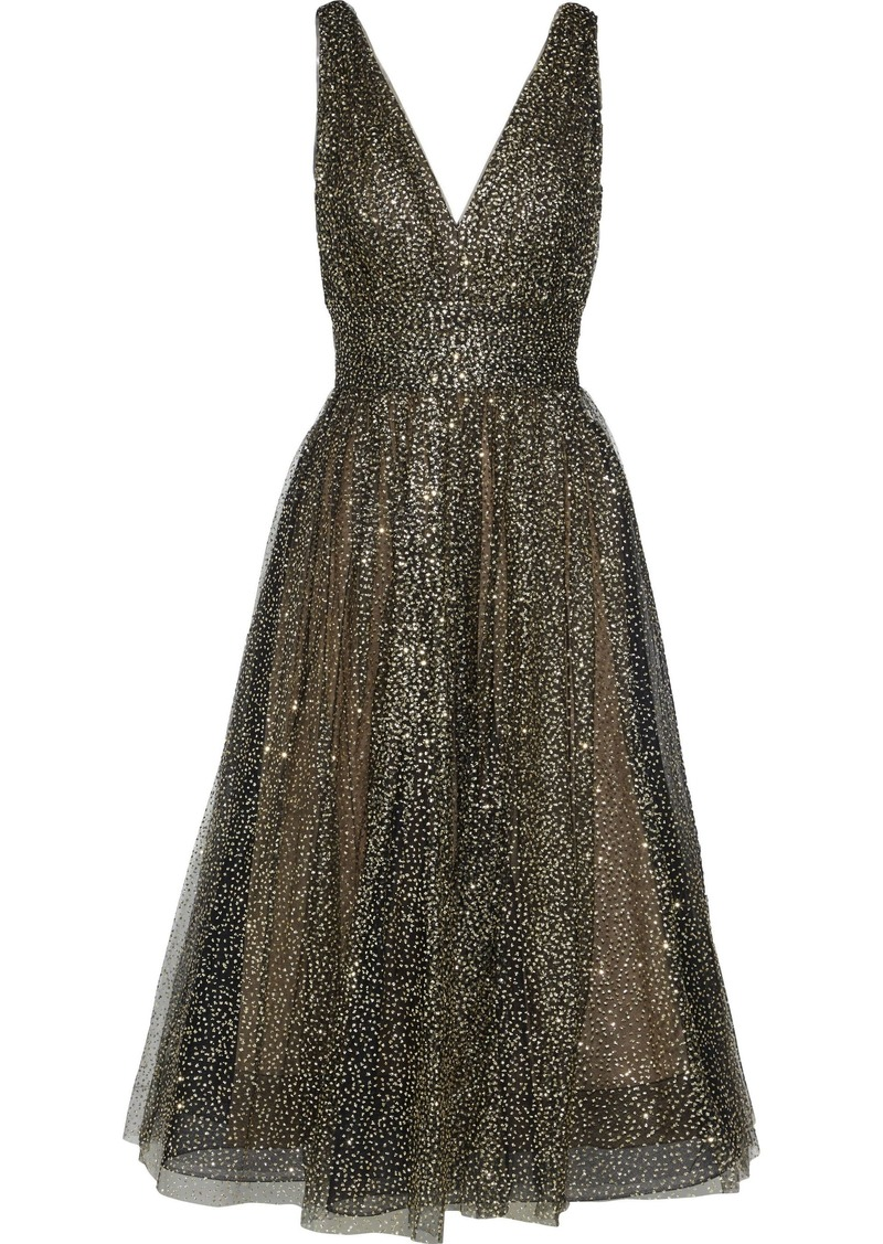 Marchesa Notte Woman Gathered Glittered Tulle Midi Dress Black