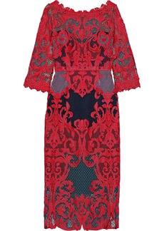 Marchesa Notte Woman Guipure Lace Dress Red