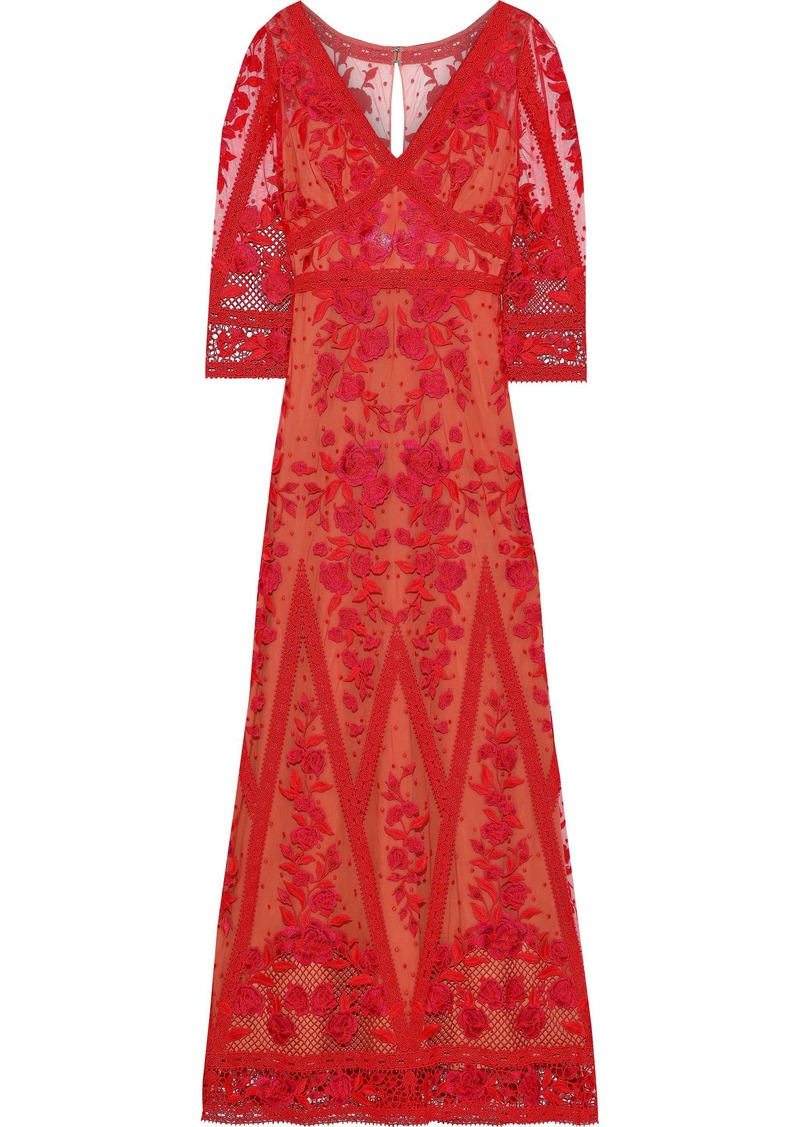Marchesa Notte Woman Guipure Lace-paneled Embroidered Tulle Gown Red