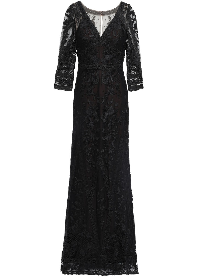 Marchesa Notte Woman Guipure Lace-paneled Embroidered Tulle Gown Black