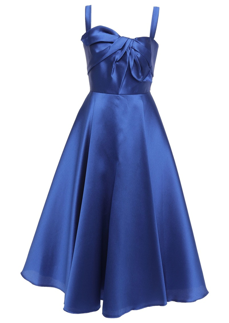 Marchesa Notte Woman Knotted Satin-piqué Midi Dress Royal Blue
