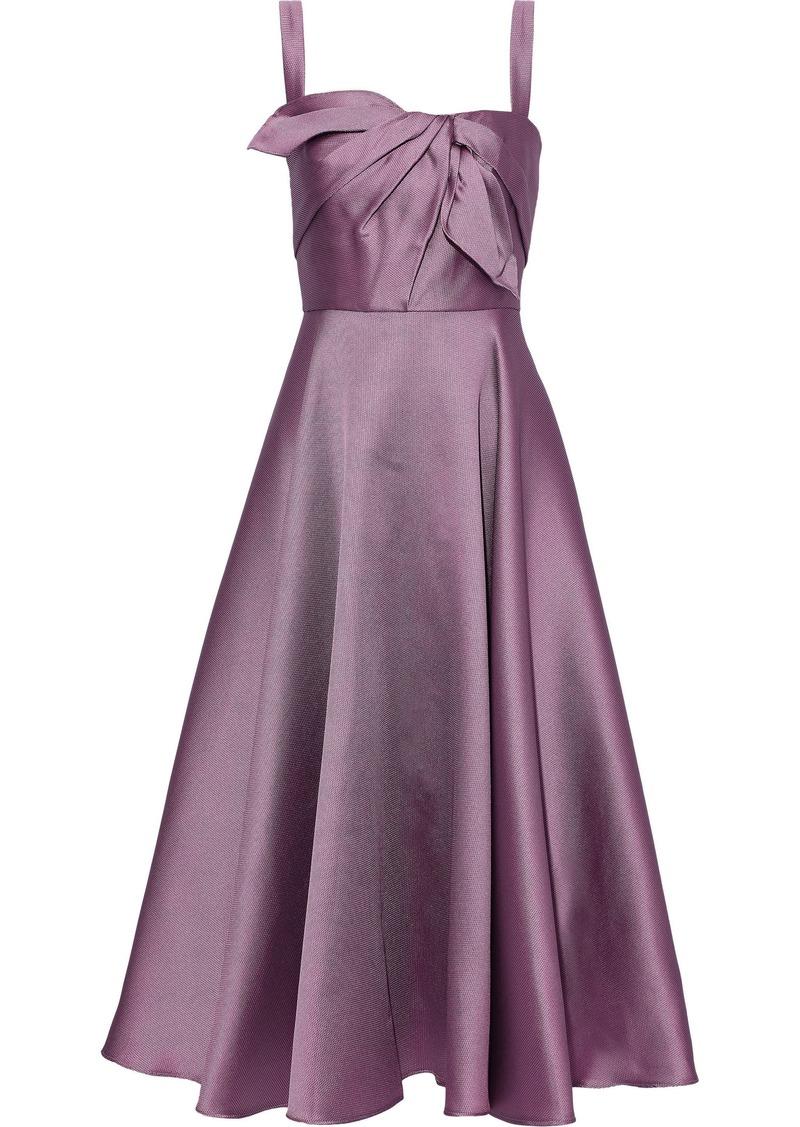 Marchesa Notte Woman Knotted Satin-piqué Midi Dress Lilac