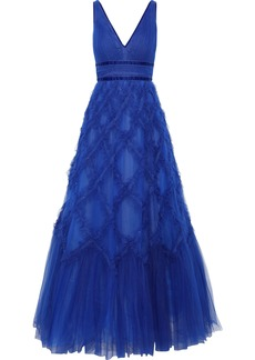 Marchesa Notte Woman Lace-appliquéd Ruffled Tulle Gown Royal Blue