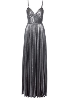 Marchesa Notte Woman Lace-trimmed Pleated Lamé Gown Silver
