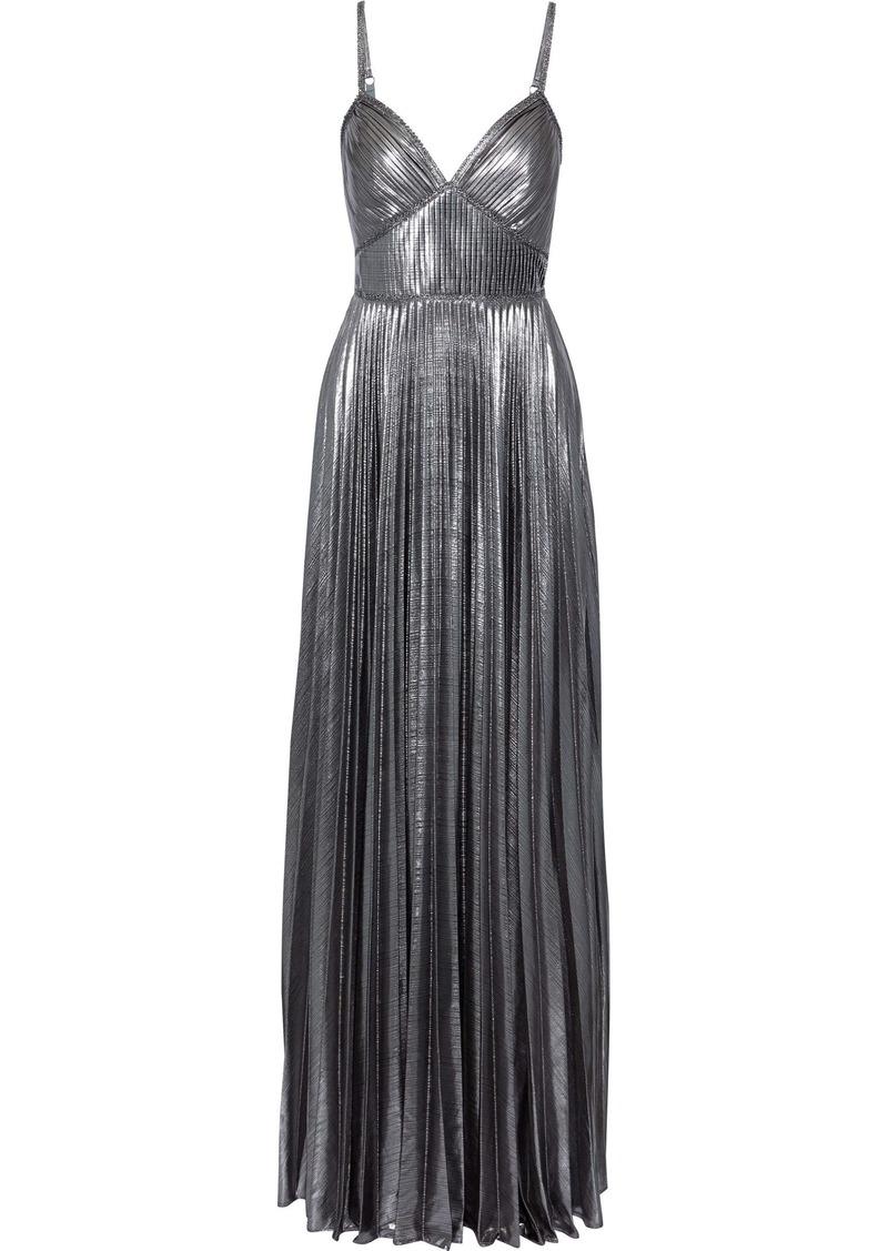 Marchesa Notte Woman Lace-trimmed Pleated Lamé Gown Silver