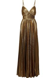 Marchesa Notte Woman Lace-trimmed Pleated Lamé Gown Gold