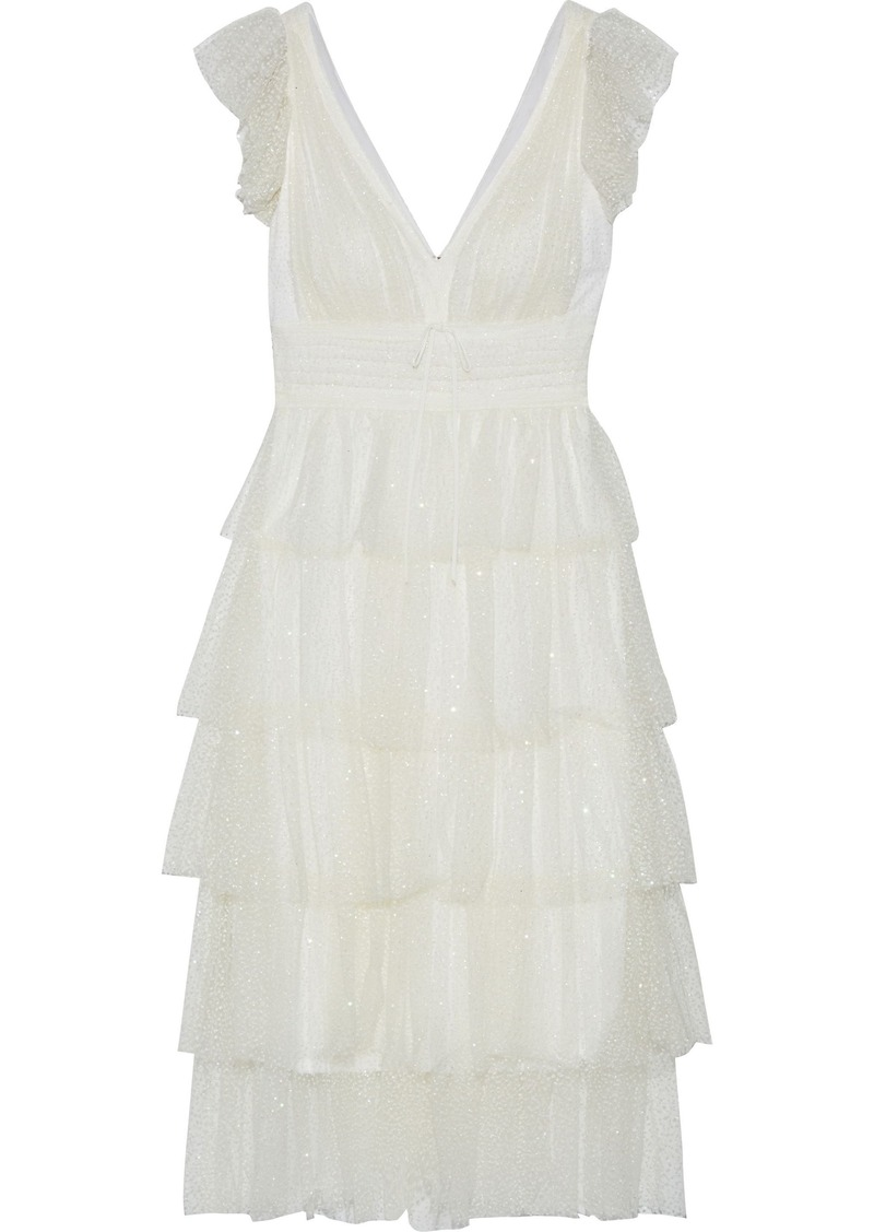 Marchesa Notte Woman Lace-trimmed Tiered Glittered Tulle Midi Dress Ivory