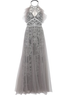Marchesa Notte Woman Layered Embellished Tulle Halterneck Gown Silver