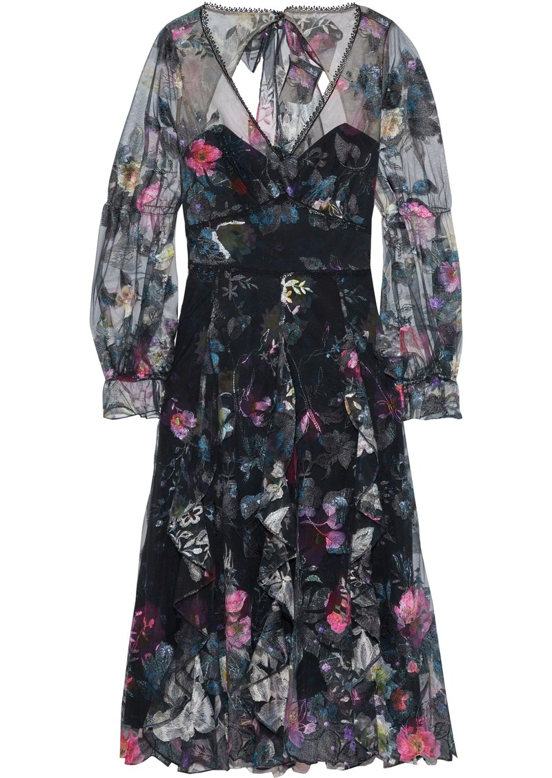 Marchesa Notte Woman Layered Embroidered Tulle And Floral-print Crepe Midi Dress Black