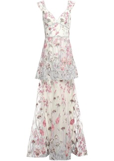 Marchesa Notte Woman Layered Metallic Embroidered Tulle Gown Ivory