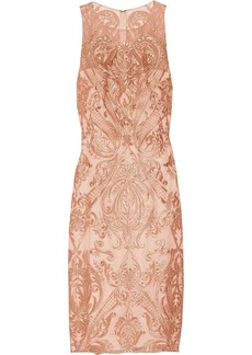 Marchesa Notte Woman Metallic Embroidered Tulle Dress Copper