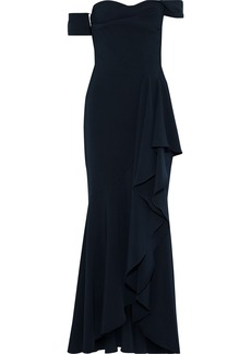Marchesa Notte Woman Off-the-shoulder Draped Cady Gown Midnight Blue