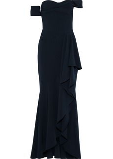 Marchesa Notte Woman Off-the-shoulder Draped Stretch-cady Gown Midnight Blue