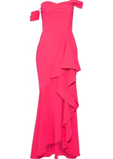 Marchesa Notte Woman Off-the-shoulder Draped Stretch-cady Gown Bright Pink