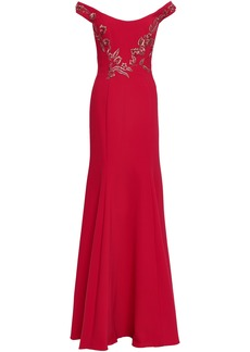 Marchesa Notte Woman Off-the-shoulder Embellished Cady Gown Red