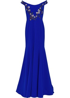 Marchesa Notte Woman Off-the-shoulder Embellished Cady Gown Royal Blue
