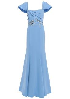 Marchesa Notte Woman Off-the-shoulder Embellished Crepe Gown Light Blue