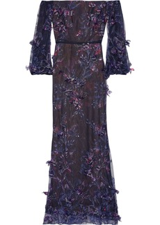 Marchesa Notte Woman Off-the-shoulder Floral-appliquéd Embroidered Tulle Gown Dark Purple