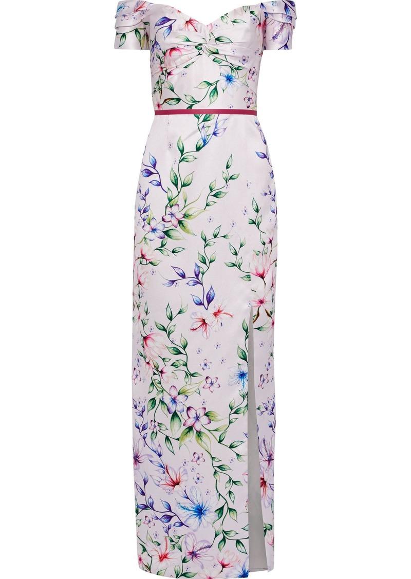 Marchesa Notte Woman Off-the-shoulder Floral-print Satin-piqué Gown Pastel Pink