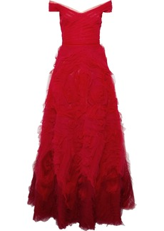 Marchesa Notte Woman Off-the-shoulder Ruffled Dégradé Tulle Gown Red