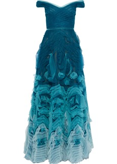 Marchesa Notte Woman Off-the-shoulder Ruffled Dégradé Tulle Gown Teal