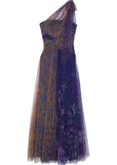 Marchesa Notte Woman One-shoulder Cutout Floral-print Plissé-tulle Gown Indigo