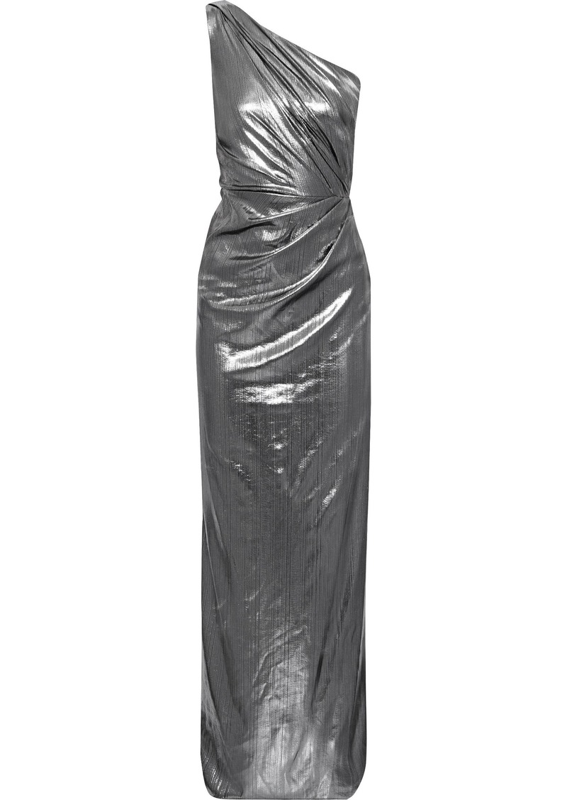 Marchesa Notte Woman One-shoulder Draped Lamé Gown Silver