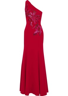 Marchesa Notte Woman One-shoulder Embellished Embroidered Cady Gown Red