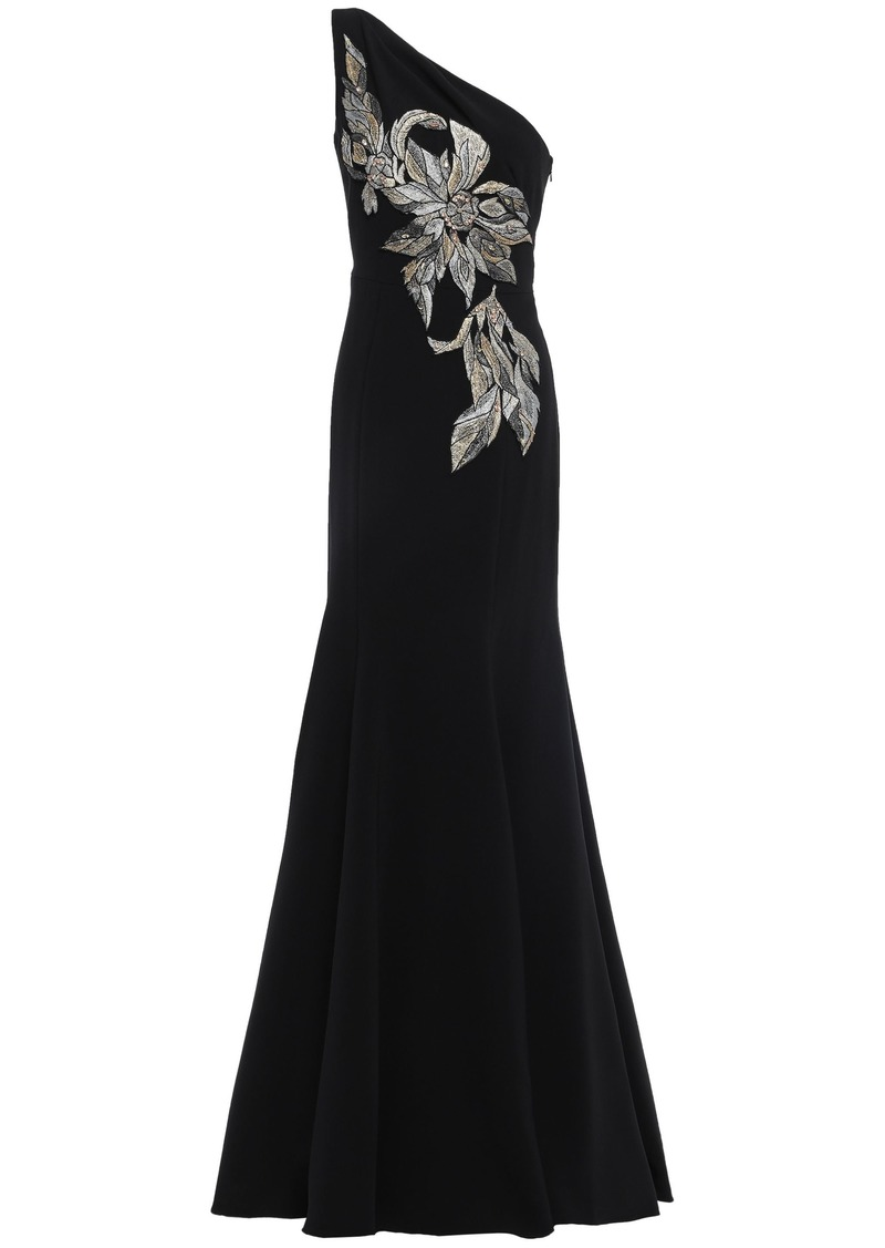 Marchesa Notte Woman One-shoulder Embellished Embroidered Cady Gown Black