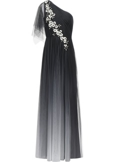 Marchesa Notte Woman One-shoulder Embellished Embroidered Tulle Gown Black