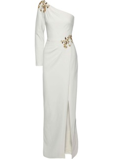 Marchesa Notte Woman One-shoulder Embellished Stretch-cady Gown Ivory