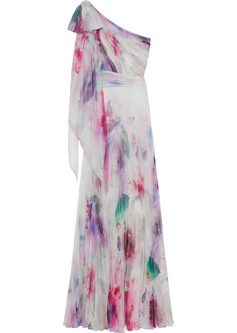 Marchesa Notte Woman One-shoulder Pleated Tie-dyed Chiffon Gown Ivory