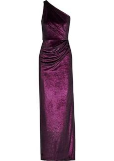 Marchesa Notte Woman One-shoulder Ruched Metallic Velvet Gown Plum