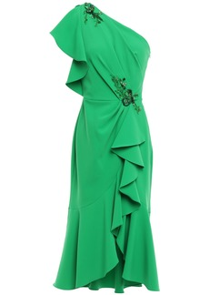 Marchesa Notte Woman One-shoulder Ruffled Embellished Crepe Dress Green