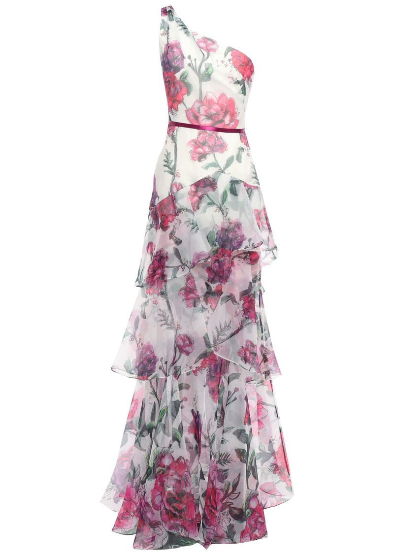 Marchesa Notte Woman One-shoulder Satin-trimmed Floral-print Organza Gown Ivory