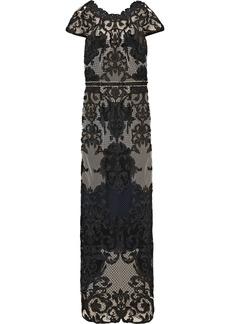 Marchesa Notte Woman Open-back Guipure Lace Gown Black