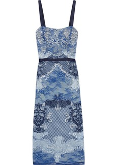 Marchesa Notte Woman Paneled Embroidered Corded Lace And Tulle Midi Dress Navy