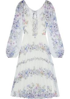 Marchesa Notte Woman Pleated Floral-print Chiffon Dress Ivory