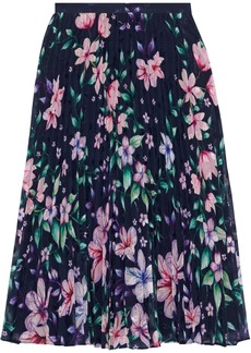 Marchesa Notte Woman Pleated Floral-print Fil Coupé Chiffon Skirt Indigo