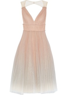 Marchesa Notte Woman Pleated Glittered Dégradé Tulle Midi Dress Blush
