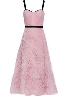 Marchesa Notte Woman Velvet-trimmed Ruffled Tulle Maxi Dress Baby Pink