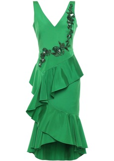 Marchesa Notte Woman Ruffled Embellished Crepe Dress Green