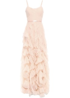 Marchesa Notte Woman Satin-trimmed Pleated Tulle Gown Pastel Pink