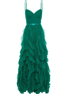 Marchesa Notte Woman Satin-trimmed Pleated Tulle Gown Emerald