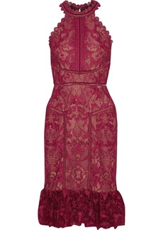 Marchesa Notte Woman Scalloped Velvet-trimmed Guipure Lace Dress Burgundy