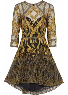 Marchesa Notte Woman Sequin-embellished Metallic Embroidered Tulle Dress Gold