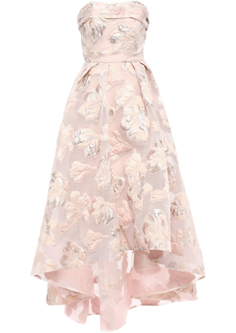Marchesa Notte Woman Strapless Asymmetric Metallic Fil Coupé Gown Pastel Pink