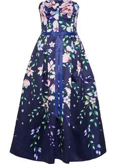Marchesa Notte Woman Strapless Bow-embellished Floral-print Satin-piqué Gown Indigo